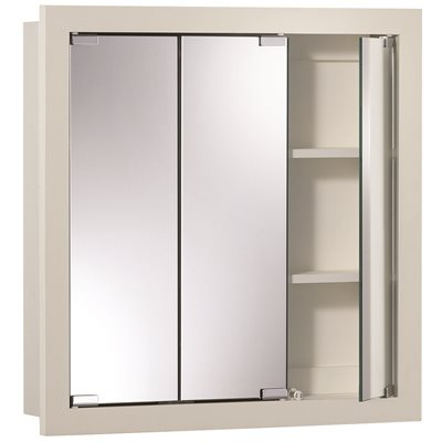Jensen MEDICINE CABINET TRIVIEW WHITE WOOD SURFACE 24 IN. X 24 IN. X 4