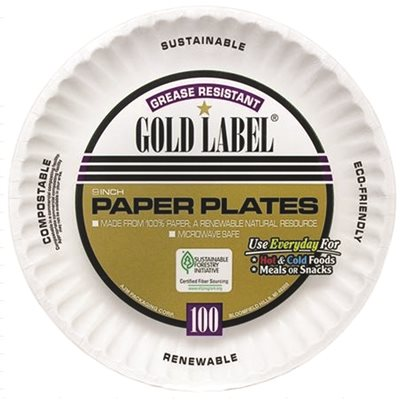 GOLD LABLE® PAPER PLATE COATED WHITE 9 IN. 100 PER  sc 1 st  SupplyWorks & Ajm Packaging Part # CP9GOEWH - Gold Lable® Paper Plate Coated ...