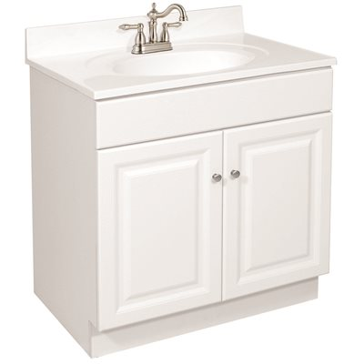 Design House Part 103911 Design House Wyndham Ready To Assemble 30 In W X 31 1 2 In D X 21 In H 2 Door In White Bath Vanity Cabinet Only Bathroom Vanities Without Tops Home Depot Pro
