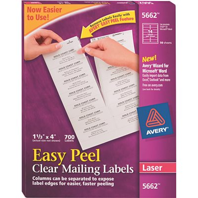 Avery Dennison Part Ave5662 Avery Easy Peel Laser Mailing Labels