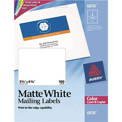 AVERY SHIPPING LABELS FOR COLOR LASER COPIER 3 4 X