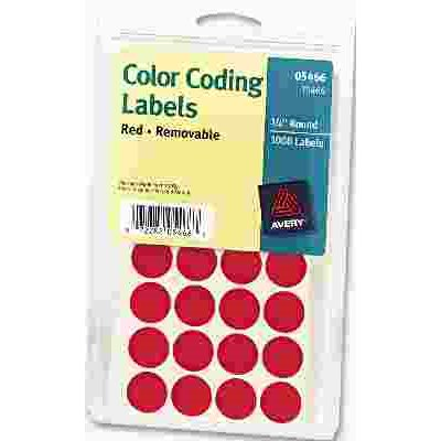 AVERY PRINT OR WRITE REMOVABLE COLOR CODING LABELS 3 4IN DIA RED