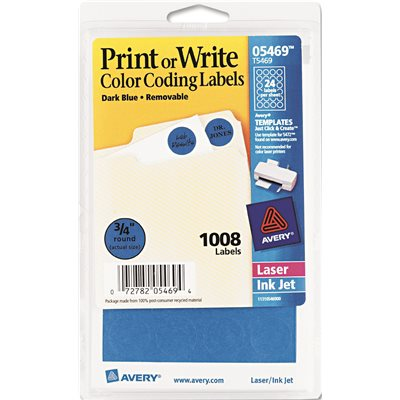 AVERY PRINT OR WRITE REMOVABLE COLOR CODING LABELS 3 4IN DIA DARK