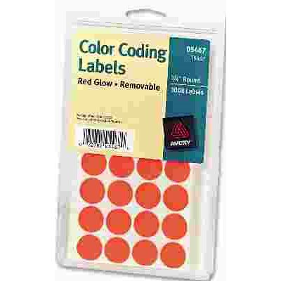 AVERY PRINT OR WRITE REMOVABLE COLOR CODING LABELS 3 4IN DIA NEON