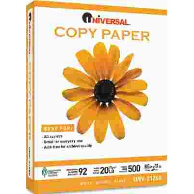 COPY PAPER, 92 BRIGHTNESS, 20LB, 8-1/2 X 11, WHITE, 5000 SHEETS/CARTON