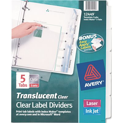 Avery Dennison Part Ave12449 Avery Index Maker Clear Label