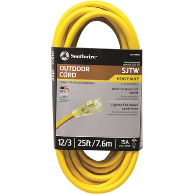 Southwire Part 2587sw8802 Southwire 25 Ft 12 3 Sjtw Outdoor Heavy Duty Extension Cord With Power Light Plug Extension Cords Home Depot Pro