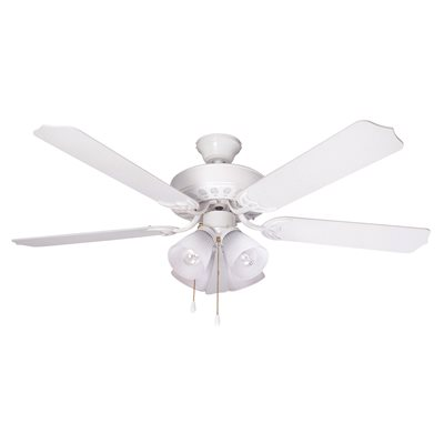 BALA® 52 IN. WHITE QUICK CONNECT DUAL-MOUNT CEILING FAN WITH 4 TULIP LIGHT KIT*