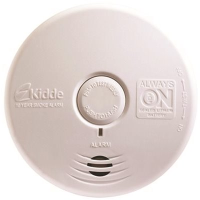 KIDDE 10-YEAR SEALED BATTERY SMOKE DETECTOR WITH PHOTOELECTRIC SENSOR