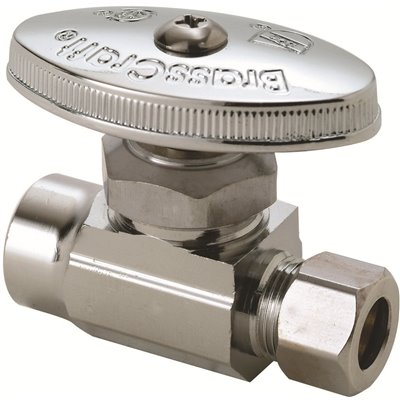 BRASSCRAFT 1/2 IN NOMINAL SWEAT INLET X 3/8 IN. O.D. COMPRESSION OUTLET BRASS MULTI-TURN STRAIGHT VALVE IN CHROME