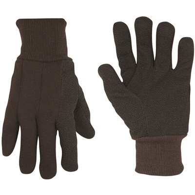 CLC BROWN COTTON JERSEY GLOVES WITH PVC GRIPPER DOTS