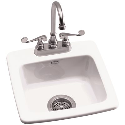 KOHLER GIMLET™ TOP MOUNT BAR SINK WITH TWO FAUCET HOLES, WHITE