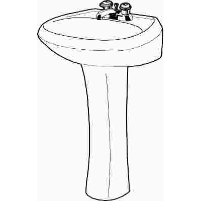GERBER BATHROOM PEDESTAL SINK BOWL CHINA 25 IN. X 20 IN. WHITE