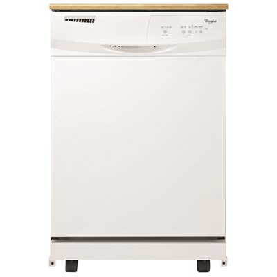whirlpool portable 24 in dishwasher with electronic controls white 3 cycles
