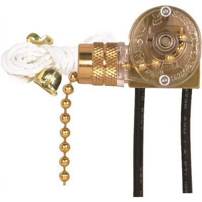 SATCO ON/OFF CANOPY SWITCH WITH METAL CHAIN AND WHITE CORD, BRASS