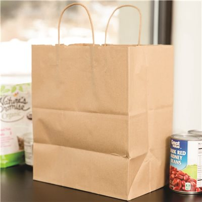 BISTRO SMALL FOODSERVICE SHOPPING BAG, 10X6.75X12 IN., KRAFT PAPER, 250