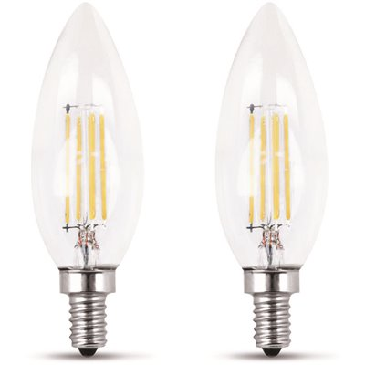 FEIT ELECTRIC 60-WATT EQUIVALENT B10 CANDELABRA DIMMABLE FILAMENT LED ENERGY STAR CLEAR GLASS LIGHT BULB, SOFT WHITE (2-PACK)