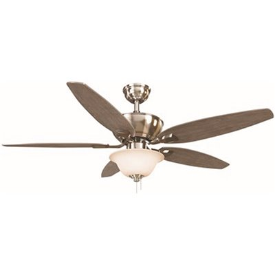 Indoor Brushed Nickel Ceiling Fan with LED Dome Light Kit