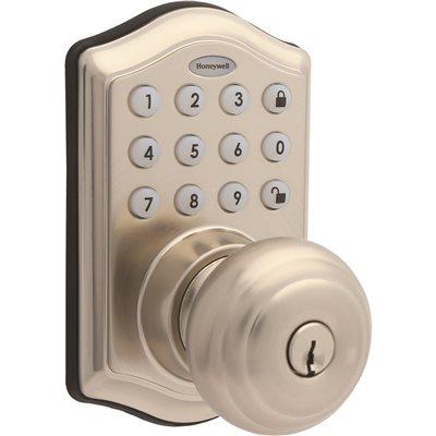 Honeywell Satin Nickel Keypad Electronic Knob Entry Door Lock With Alarm