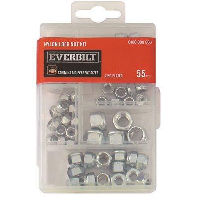 Everbilt Part 803314 Everbilt 55 Piece Zinc Plated Nylon Locknut Kit Lock Nuts Home Depot Pro