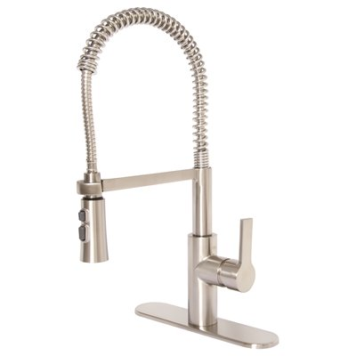 Premier Part 3585647 Beck Single Handle Pull Down Sprayer Kitchen Faucet In Brushed Nickel Spray Faucets Home Depot Pro