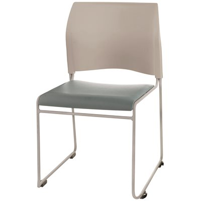 NATIONAL PUBLIC SEATING PADDED STACK CHAIR BLUE/GRY