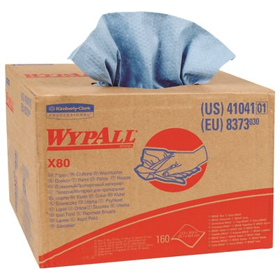 Wypall X80 Reusable Wipes Extended Use Cloths BRAG Box Format Blue 160 Sheets
