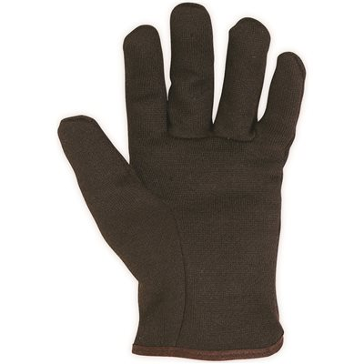 CLC FLEECE LINED OPEN CUFF COTTON BROWN JERSEY GLOVES LARGE