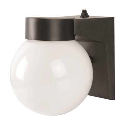 LED EXTERIOR WALL SCONCE WITH PHOTO CELL, WHITE ACRYLIC GLOBE, 7 1/