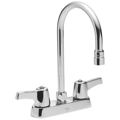 Delta 2 Handle Standard Kitchen Faucet With Gooseneck Spout In Chrome