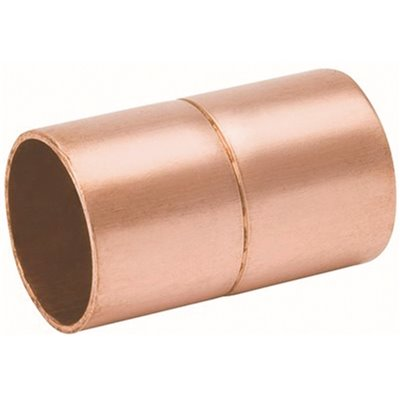 """1 1//4/"""" Copper Coupling with Rolled Stop CxC Bag of 10"""