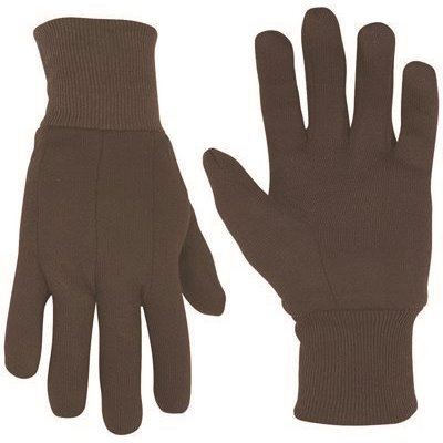 CLC COTTON BLEND BROWN JERSEY GLOVES, ONE SIZE FITS ALL