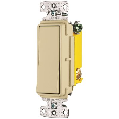 hubbell wiring 15 amp 120 to 277-volt 3-way rocker switch, ivory