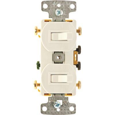 Hubbell Wiring Part # RC303W - Hubbell Wiring 15 Amp Combo 2 ... on leviton 3 way switch, pass & seymour 3 way switch, bridgeport 3 way switch, eagle 3 way switch, lutron 3 way switch, changing 3-way light switch, cooper 3 way switch, legrand 3 way switch,