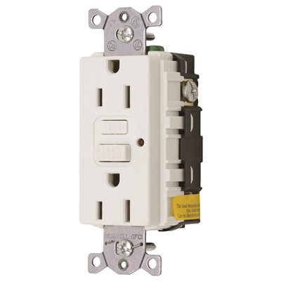 Hubbell Wiring Part # GF15WLA - Gfci Duplex Receptacle 15 Amp White ...