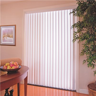84X36 IN. DESIGNER'S TOUCH 3.5-INCH PVC VERTICAL BLINDS, WHITE