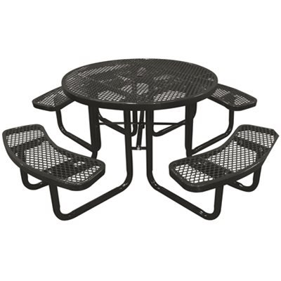 Highland Products Part PTBBLK In Expanded Metal - White round picnic table