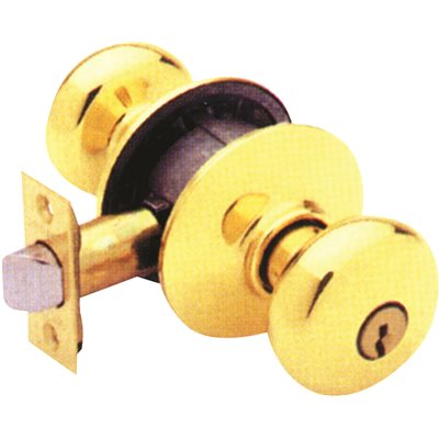 SCHLAGE F51N PLYMOUTH ENTRY SET POLISHED BRASS FINISH