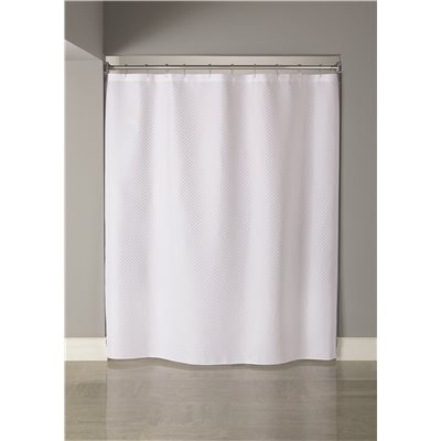 HOOKED™ CHECKER PATTERN SHOWER CURTAIN, 6 FT. X 6 FT., WHITE