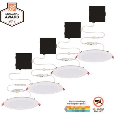 Commercial Electric Part 91365 Commercial Electric Ultra Slim 6 In New Construction And Remodel Color Selectable Canless Led Recessed Kit 4 Pack Flush Mount Ceiling Lights Home Depot Pro