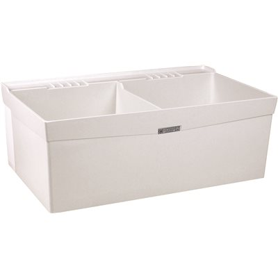 UTILATWIN 19-GALLON WALL-MOUNT DOUBLE BOWL LAUNDRY/UTILITY TUB, COMPRESSION MOLDED FIBERGLASS, 34 X 40 X 24 IN., WHITE