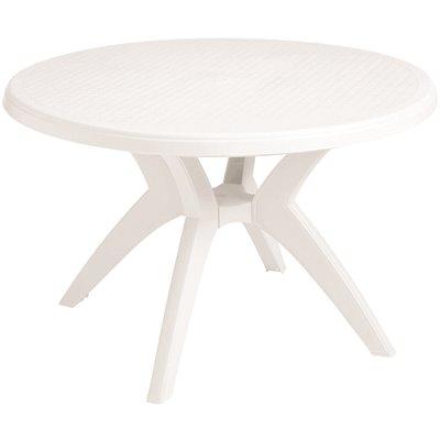 Grosfillex Ibiza 46 In White Round, Round Plastic Patio Table