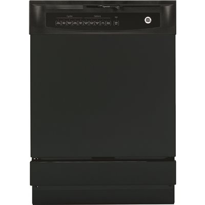 GE® BUILT-IN 24-INCH DISHWASHER WITH FRONT CONTROLS, BLACK, 5 CYCLES / 5 OPTIONS