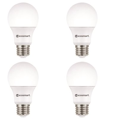 ECOSMART 100-WATT EQUIVALENT A19 NON-DIMMABLE LED LIGHT BULB COOL WHITE (4-PACK)