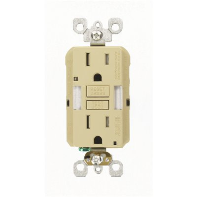 Leviton Part Gfnl1 I Leviton 15 Amp Self Test Smartlockpro Combo Duplex Guide Light And Tamper Resistant Gfci Outlet Ivory Gfci Receptacles Home Depot Pro