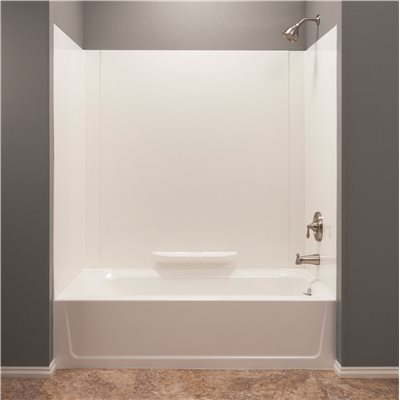 MUSTEE Durawall 30 In. X 60 In. X 58 In. 3 Piece Easy Up Adhesive Alcove  Bath Tub Surround In White