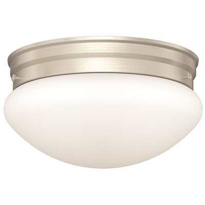 MONUMENT LED MUSHROOM SHAPED CEILING FIXTURE, WHITE OPAL GLASS, 9-1/8 X 5 IN., BRUSHED NICKEL, 12-WATT LED CHIP INCLUDED