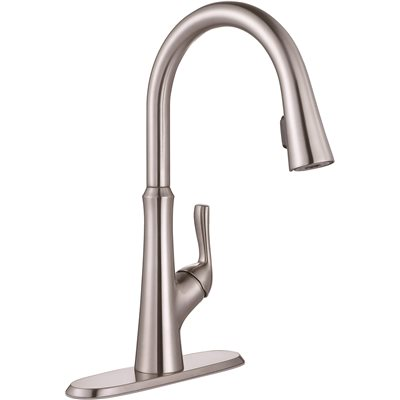 Premier Creswell Single Handle Pull Down Sprayer Kitchen Faucet With  Concealed Sprayer In Brushed