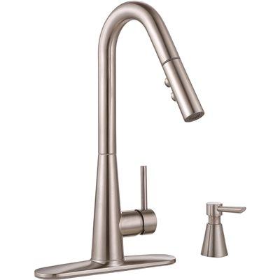 Premier Part 67553 0504 Premier Essen Single Handle Pull Down Sprayer Kitchen Faucet With Soap Dispenser In Brushed Nickel Pull Down Spray Kitchen Faucets Home Depot Pro