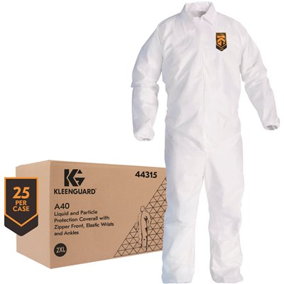 Kleenguard Part 44315 A40 Liquid Particle Protection Coveralls 44315 Zip Front Elastic Wrists Ankles White 2xl 25 Garments Case Disposable Work Clothing Home Depot Pro